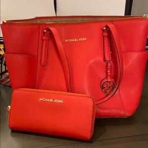 Michael Kors zip tote and wallet